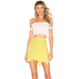 NEW superdown Aaliyah Wrap Mini Skirt in Yellow